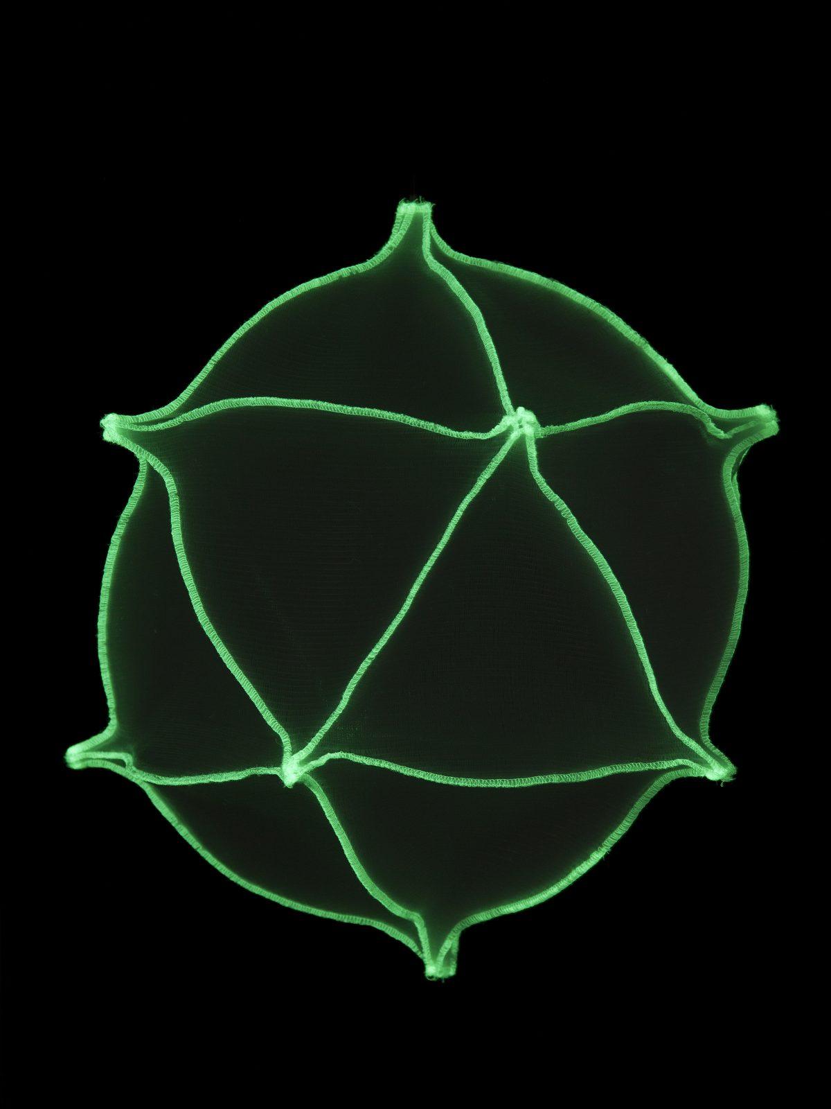 Radiolaria Metamorphosus lucidus reversus glow-in-the-dark hanglamp van Bernotat