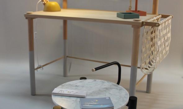 M.OSS design bureau Helmut lamp geel marmer tafeltje foto Gimmii