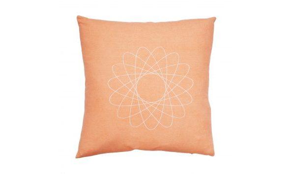 Rubia Silk kussen mat zijde perzik 50 x 50