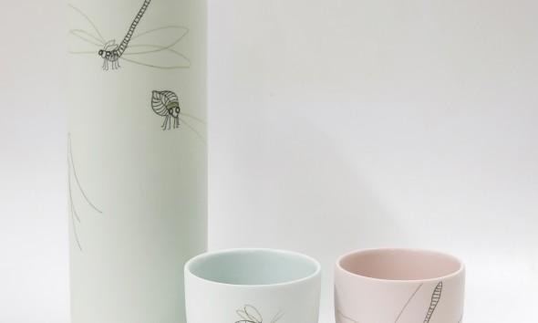 GIMMII set 2 Elke van den Berg Waterkan insect mintgroen met kopje lichtblauw en roze