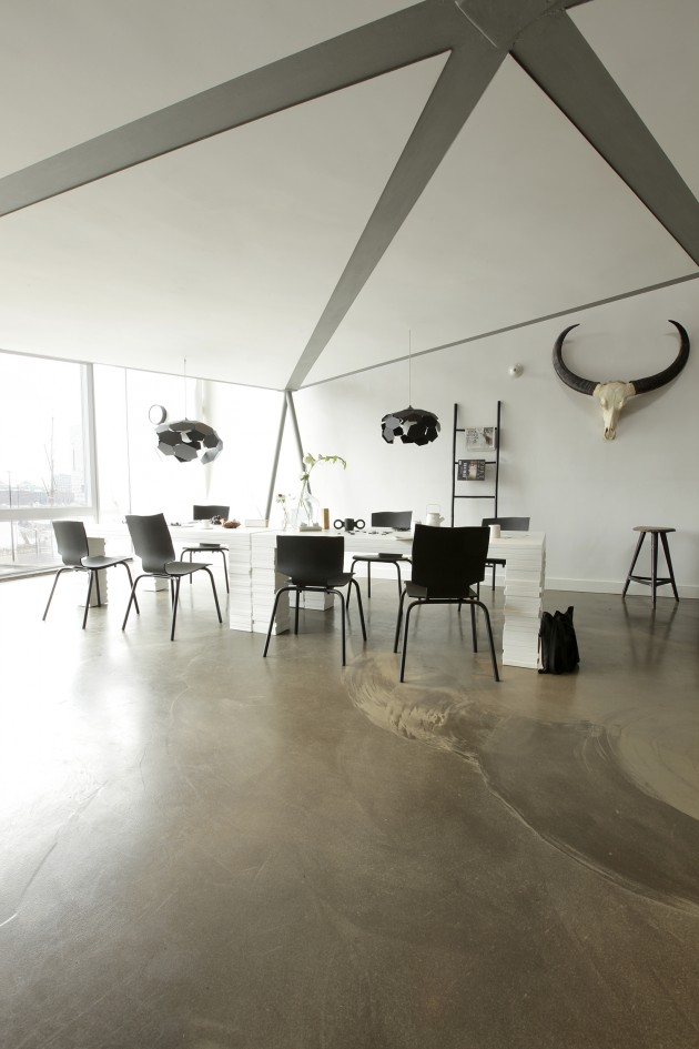 Gispen Amsterdam interior black white Thunderball pendants More or less chairs Layers table.jpg