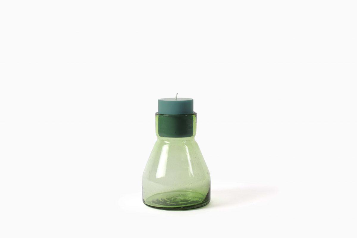 Glas Candlestick L19 green