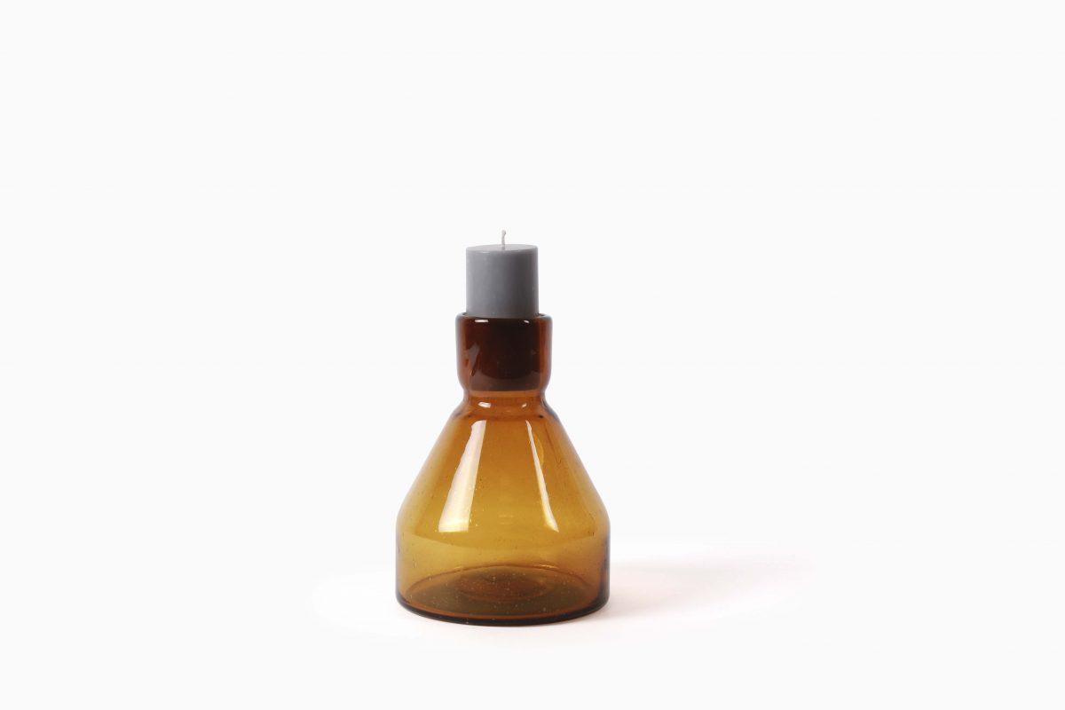 Cantel Candlestick S21 amber design Van Eijk & Van der Lubbe