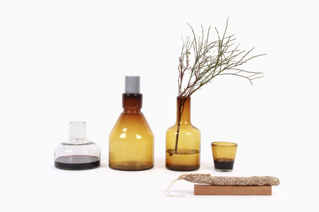 Cantel glascollectie amber kandelaar karaf glas en vaas transparant by Imperct Design