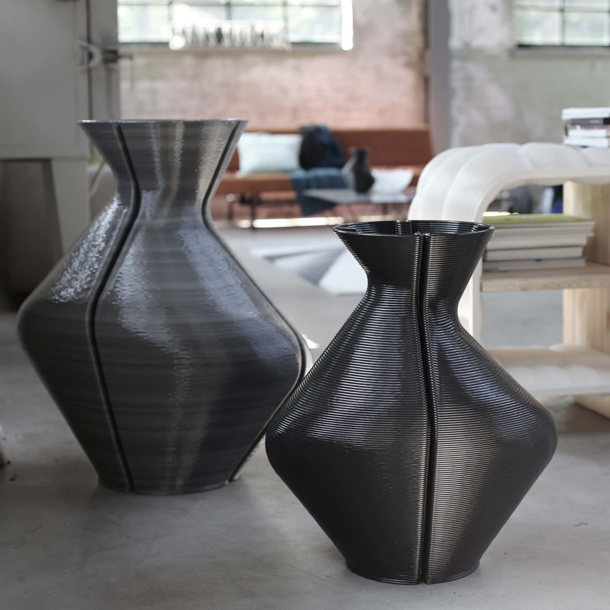 Changing Vases, Black and Ash Grey. Photo Studio Dirk Vander Kooij