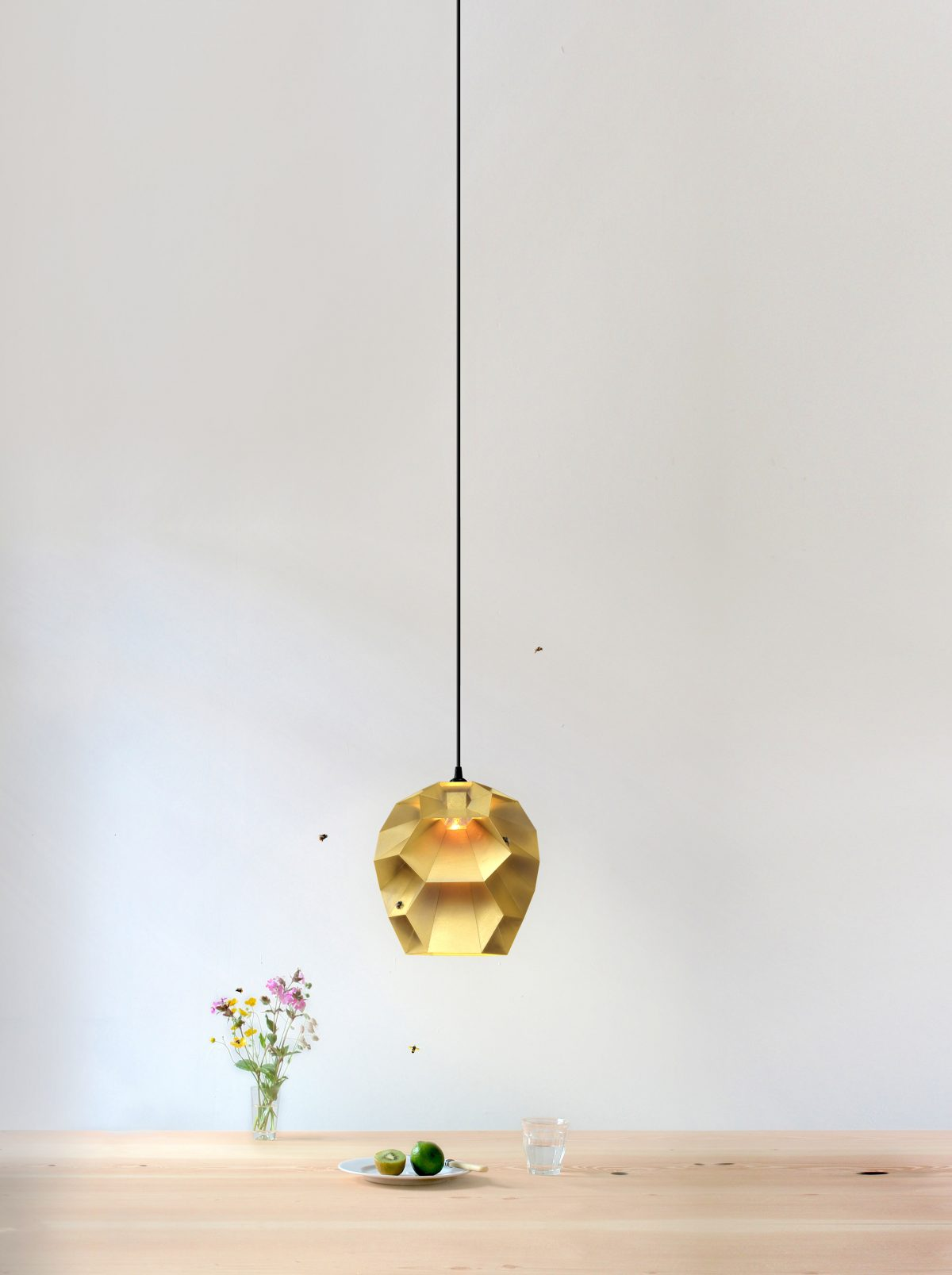 Marc de Groot BEEHIVE brass pendant card