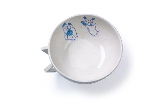 Blue Pottery schaal blauw medium