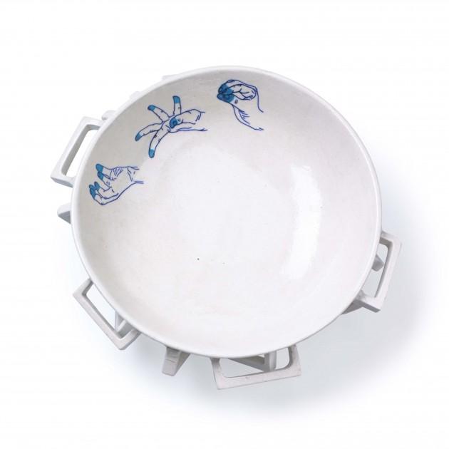 Blue Pottery Bowl Large blue Imperfect Design
