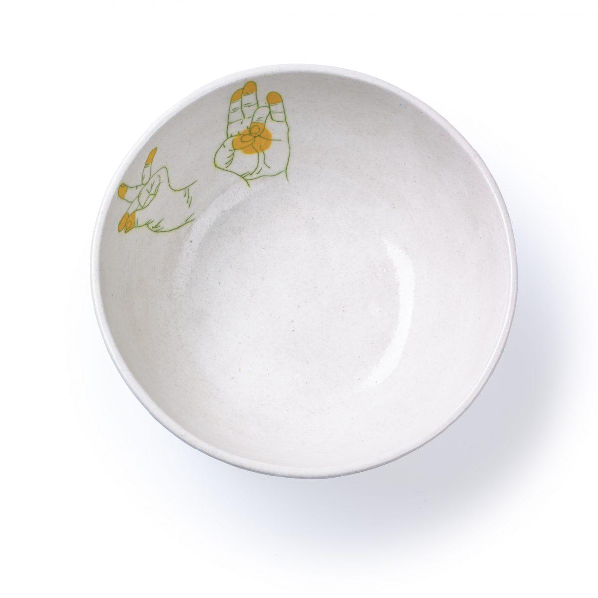 Blue Pottery schaal geel medium