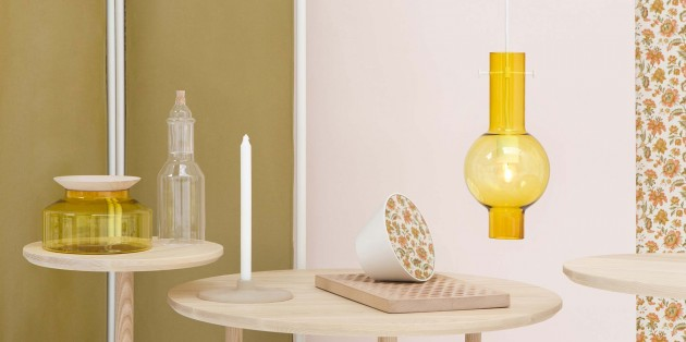 Novecento Ontwerpduo: Pendant lamp & Presentation platter yellow - Gimmii