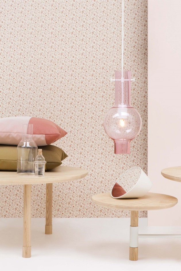 Novecento Ontwerpduo hanglamp roze glas - Gimmii