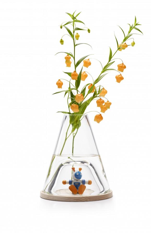 Ontwerpduo Novecento stolp vaas met display en bloemen - Gimmii