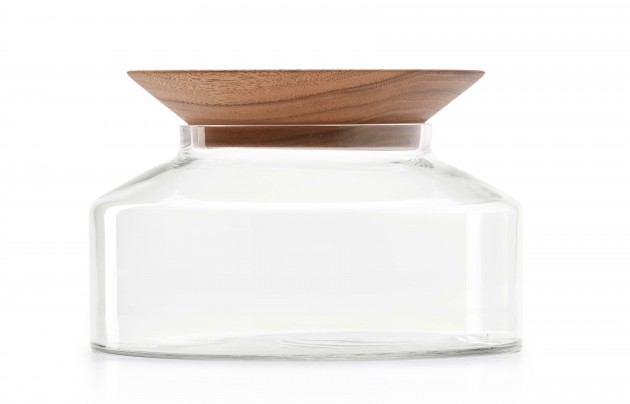 Presentation Platter by Ontwerpduo walnut transparant glass - Gimmii