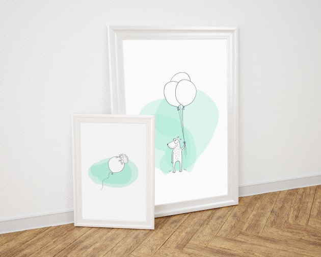 Duo poster cartoon mint wit kinderkamer A3 & A2 by studio vixx