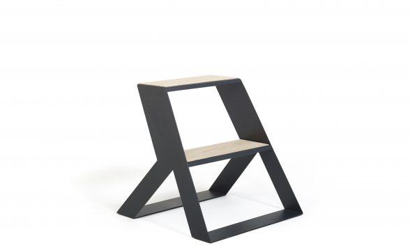 SPLIT STEP staal met hout opstapje
