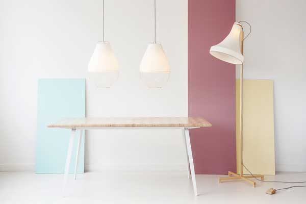 Hanglamp en vloerlamp Meshmatics en Constructed Surface Table van Rick Tegelaar – Gimmii