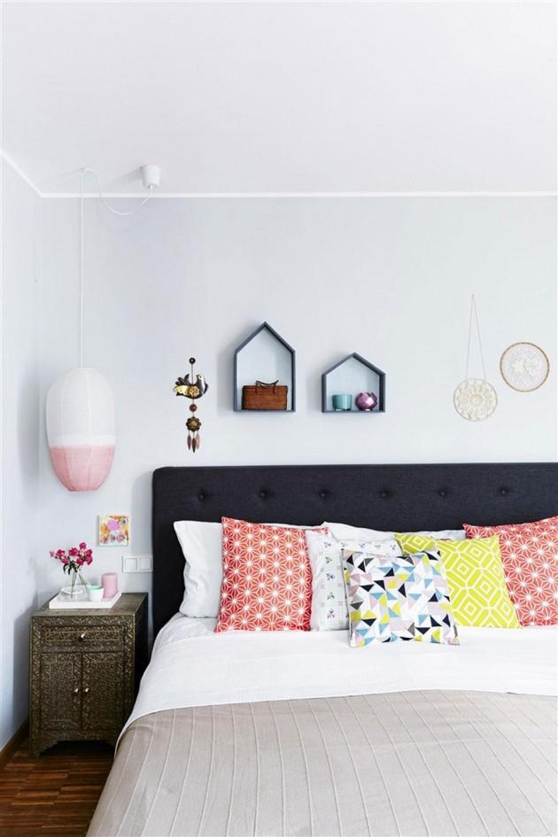 Slaapkamer eclectische kussens in oker, oranje & more