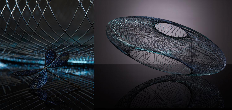 Iridescent hanglamp Fibre pattern lamp by Atelier robotiq - gimmii