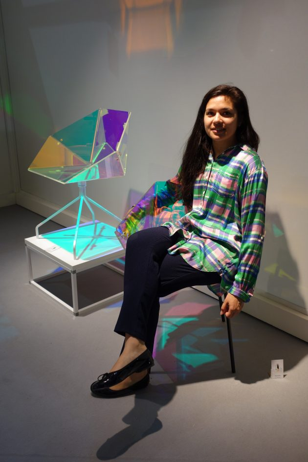 Elise Luttik with her design Prismania chair in Milan - photo gimmii.nl