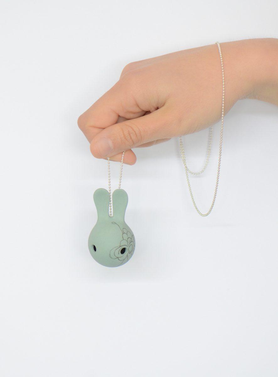 Cuniculus S groen decoratie-konijn-ketting-JORINE -gimmii