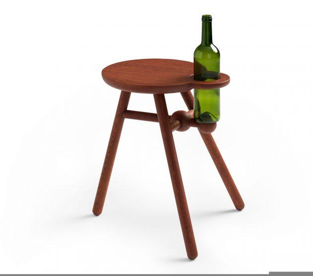Pode Bottlestool met wijnhouder Dutch design Kranen/Gille
