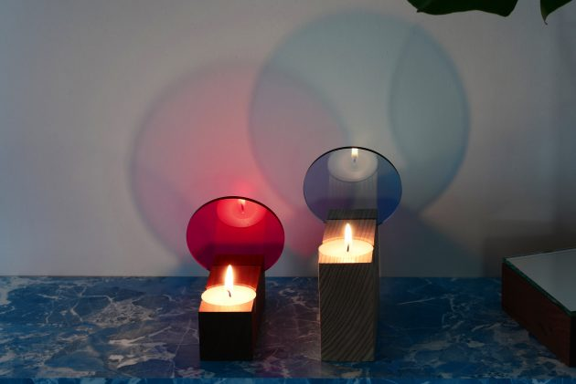 Colour tealight effect Interior Reflections ST&VD pink lightblue