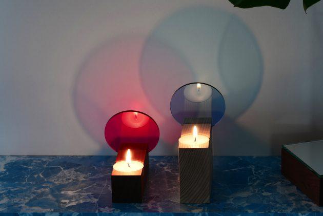Colour tealight effect Interior Reflections ST&VD pink lightblue
