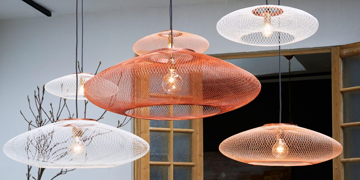 UFO fiber pattern lamp large copper atelier robotiq