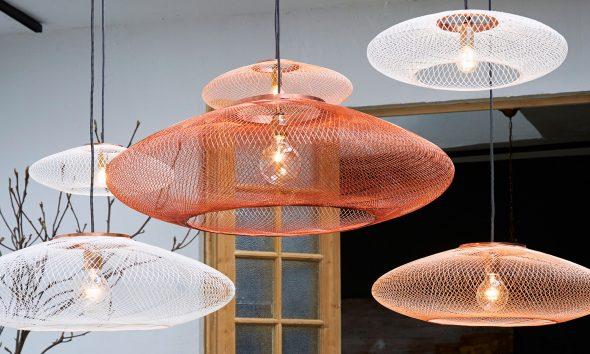 UFO fiber pattern lamp large copper atelier robotiq