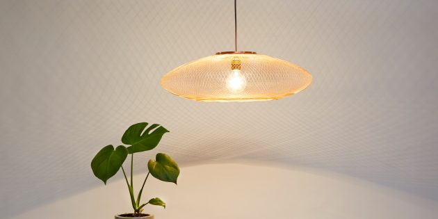 UFO medium copper koper Atelier Robotiq fiber pattern lamp - gimmii