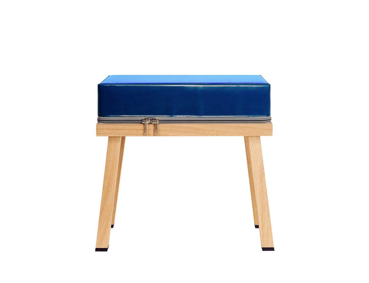 Visser&Meijwaard Truecolors Stool Krukje Donkerblauw Stijlvol Eiken Pvc