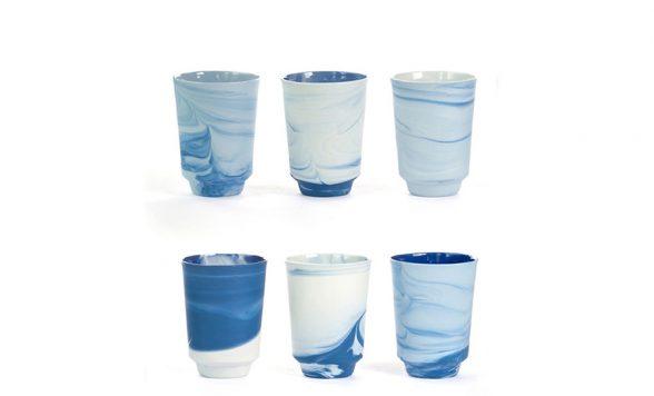 Pigments & Porcelain theemokken (6 stuks)