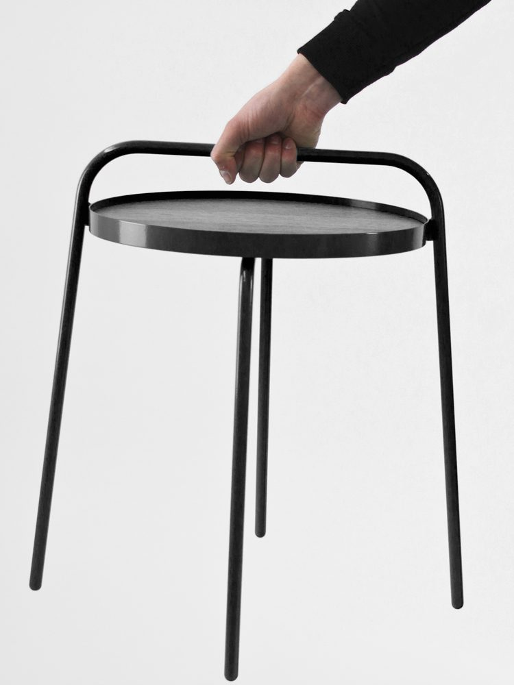 Patrick Hartog Dutch Design Bucket Side Table Carrying Black Grey