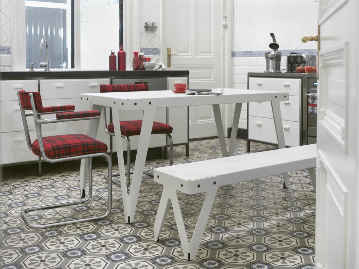 Functionals Lloyd Table 140×70 Lloyd Bench White Eettafel Bankje Wit Leuken