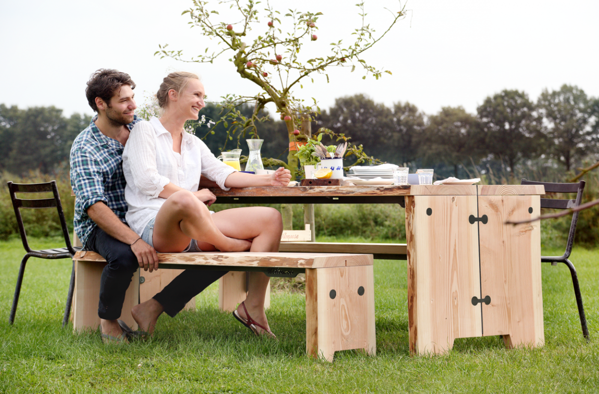 Weltevree Forestry Set Tafel Bankje Hout Wood Outdoor Dutch Design