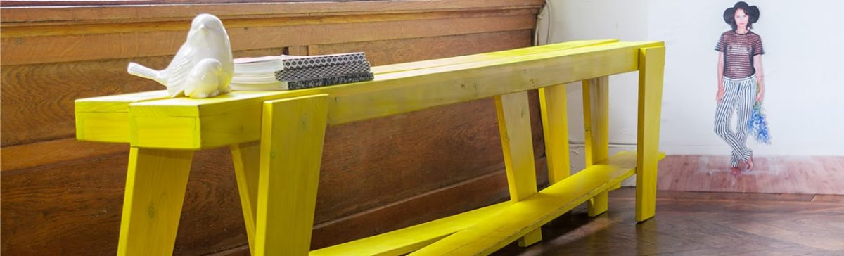 Bench Sept Pieds Yellow Bank Interior Design