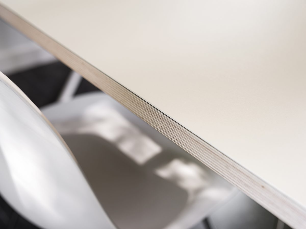 Functionals KUMPEL Table White Mushroom Detail Tafelblad Multiplex Linoleum