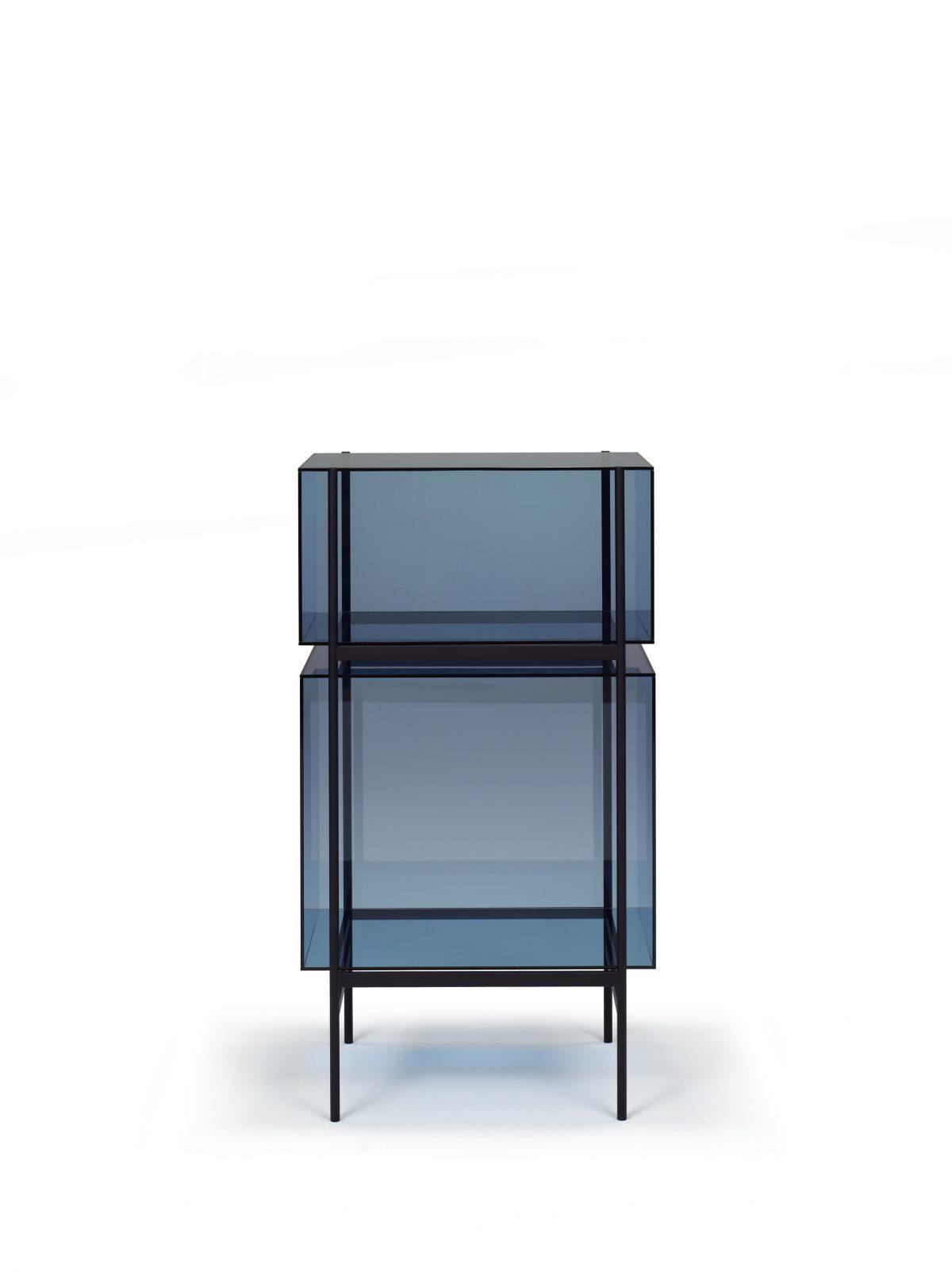 Kast LYN 2 Vakken Helderr Visser Meijwaard Exclusief Dutchdesign Zwart Frame Groen Glas JOSHH& 11