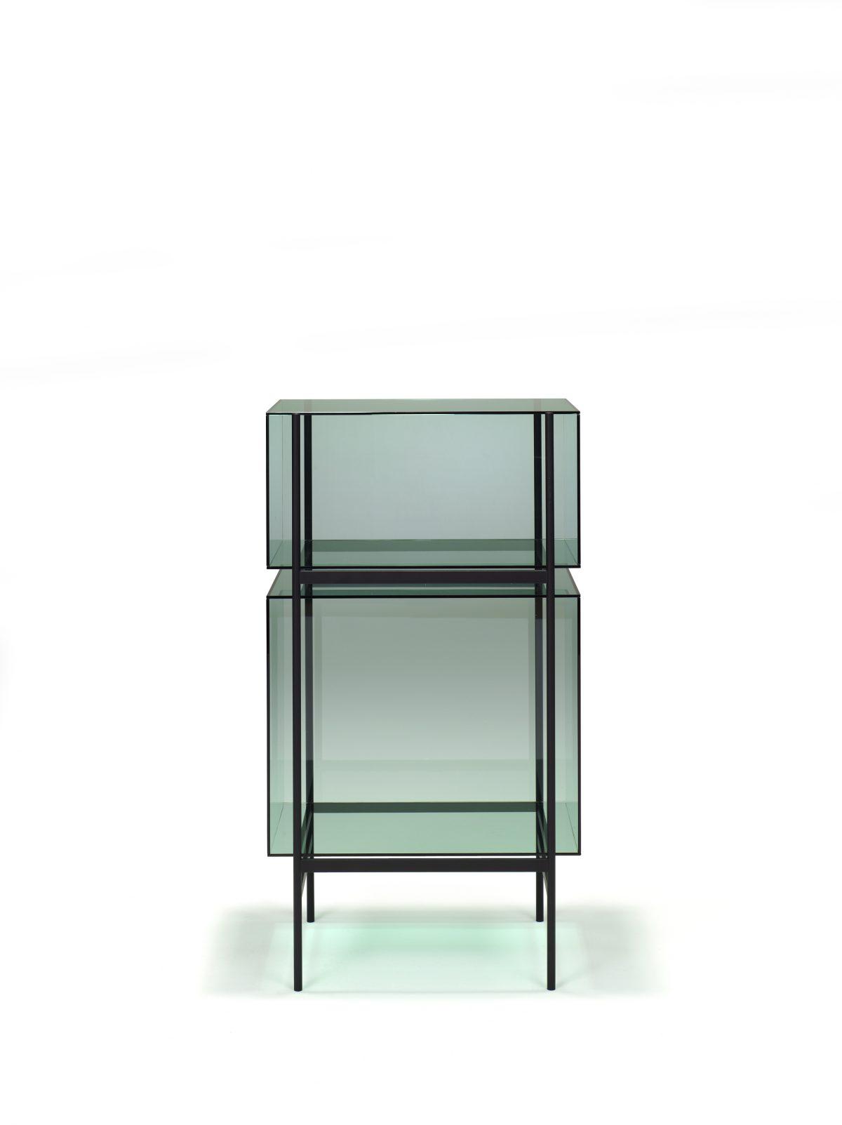 Kast LYN 2 Vakken JOSHH Visser Meijwaard Exclusief Dutchdesign Oranje Frame Groen Glas JOSHH& 10