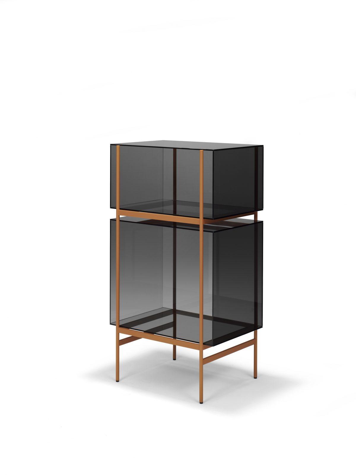 Kast LYN 2 Vakken Visser Meijwaard Exclusief Dutchdesign Oranje Frame Grijs Glas JOSHH& 22
