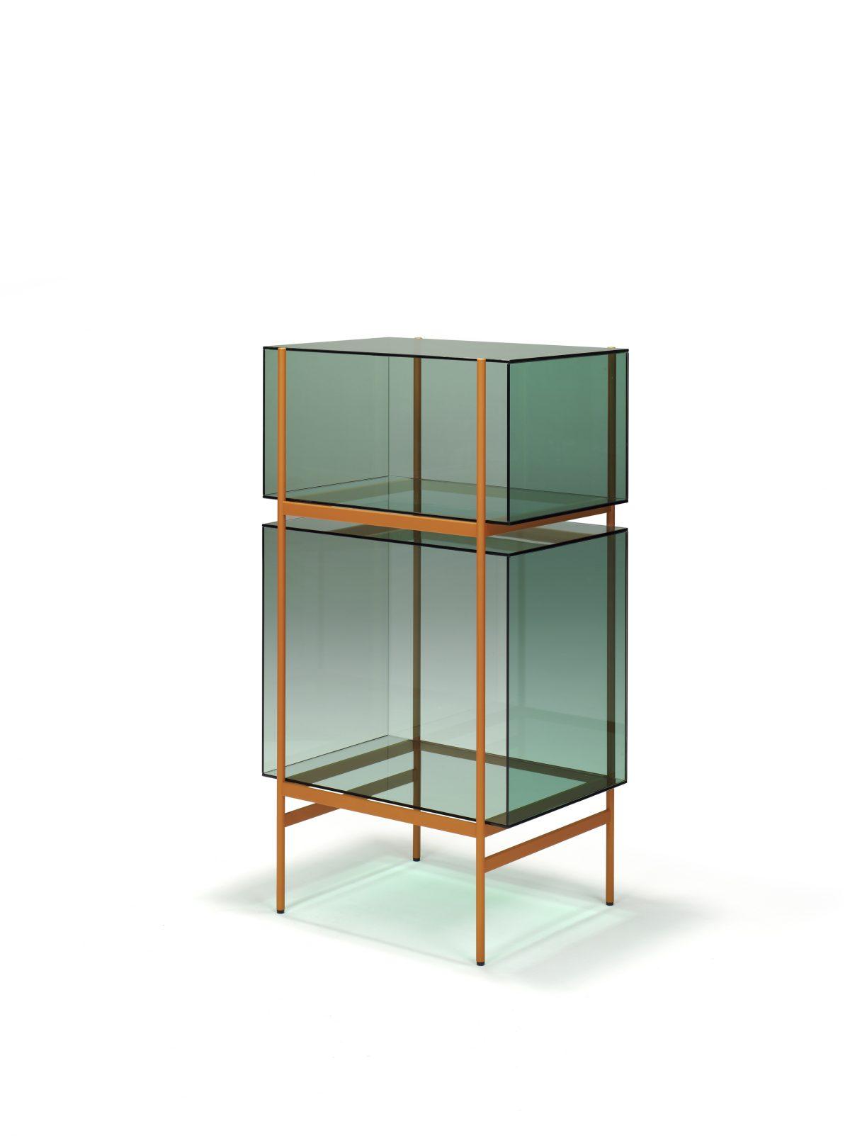 Kast LYN 2 Vakken Visser Meijwaard Exclusief Dutchdesign Oranje Frame Groen Glas JOSHH& 21