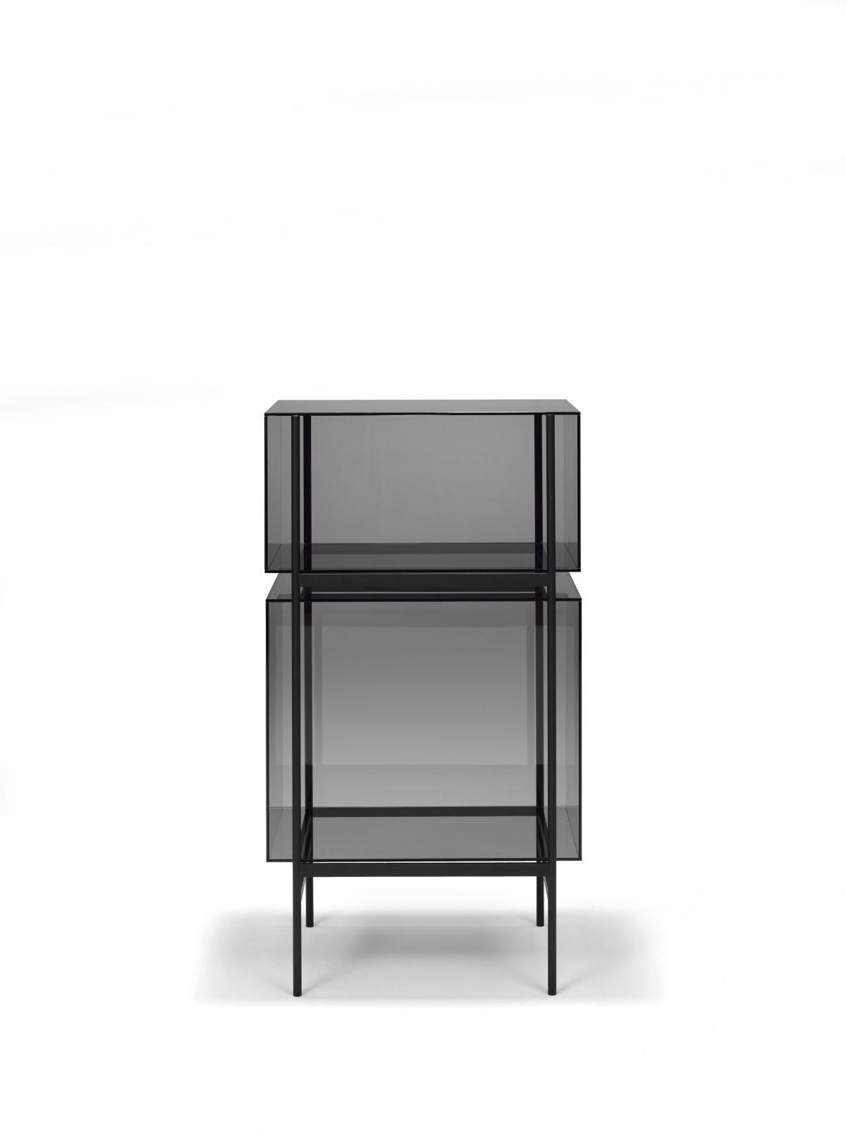 Kast LYN 2 Vakken Visser Meijwaard Luxe Dutchdesign Kast Zwart Frame Grijs Glas JOSHH& 12