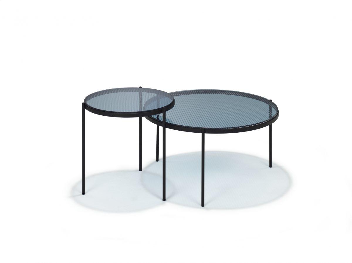 LYN Salontafel Set Rond Visser Meijwaard Grijs Glas Frame Zwart Tafel JOSHH& HELDERR 39