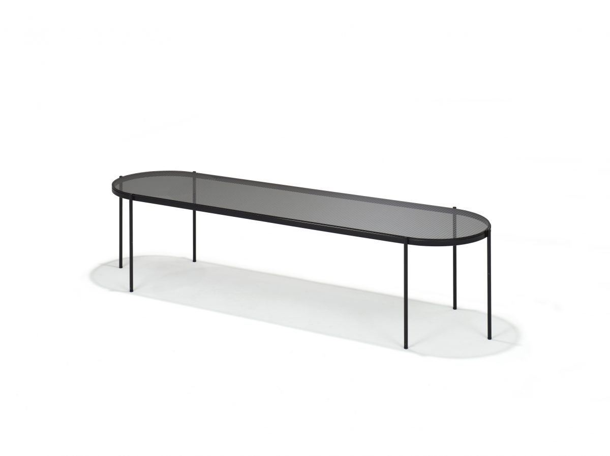 LYN Salontafel Ovaal Visser Mijwaard JOSHH& Helderr Black Glass Steel Coffeetable 35