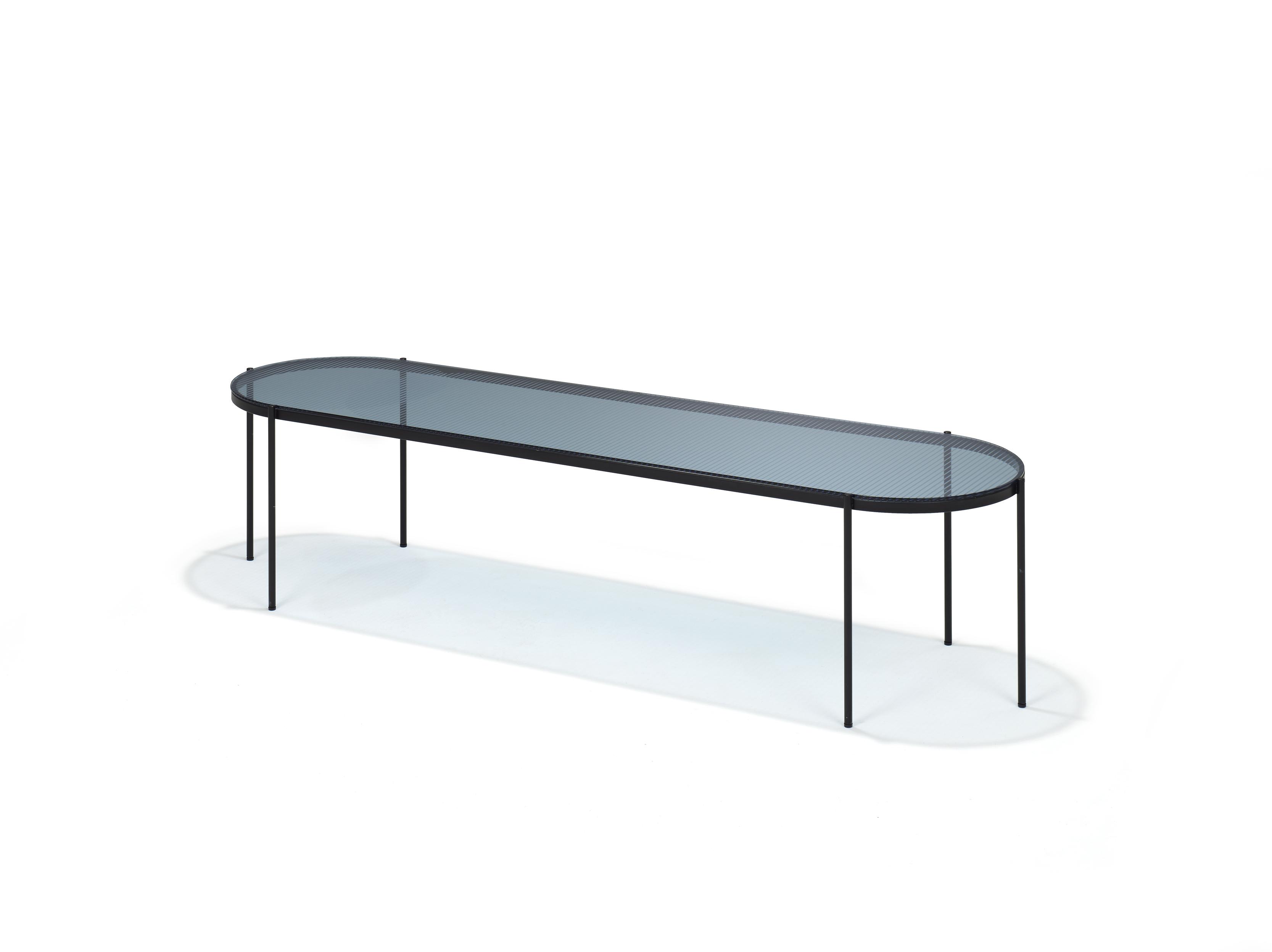 Zwarte Tafel Met Glasplaat.Lyn Salontafel Ovaal Glas En Staal Kopen Bestel Online Bij Gimmii