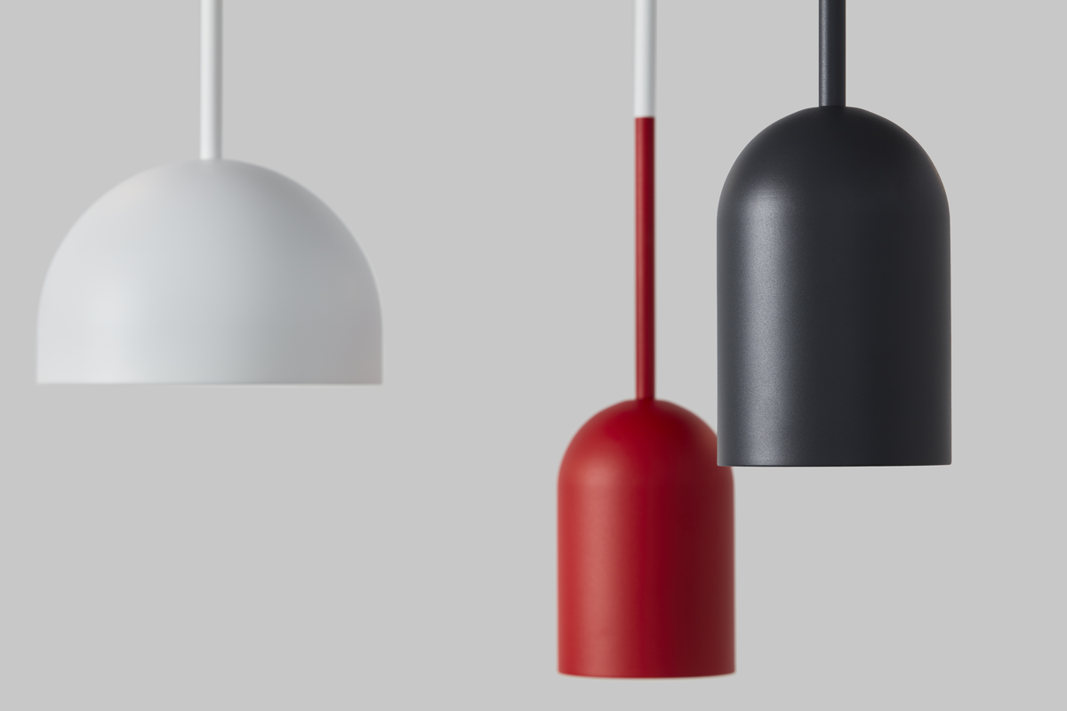 Frederik Roije Beaming Bobber Rond Hanglamp Wit Pencil Lamp Rood Donkergrijs Projectverlichting Dutch Design