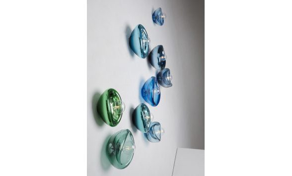 Aurum wandlamp blauw transparant