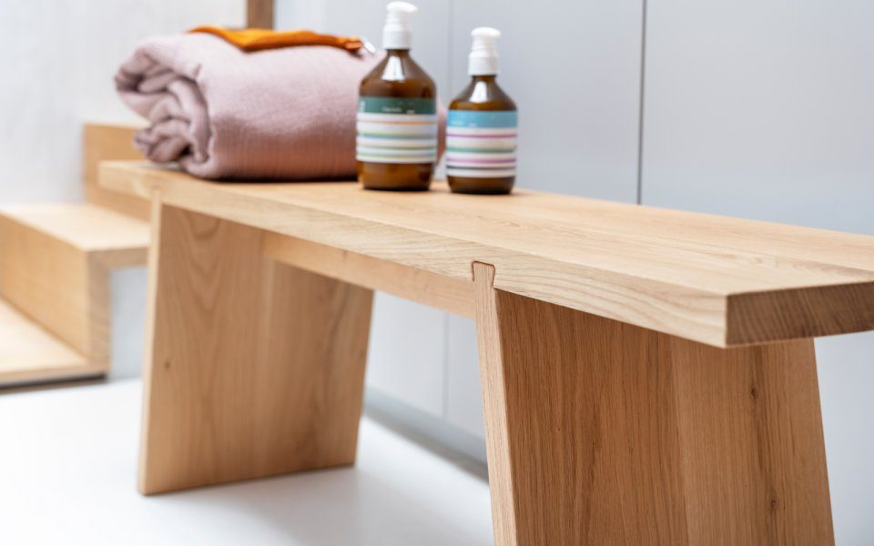 Functionals Dovetail Bench Wood Bank Dutch Design Modern Spa