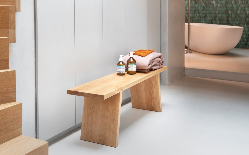 Functionals Dovetail Bench Wood Bank Dutch Design Modern Spa Bathroom