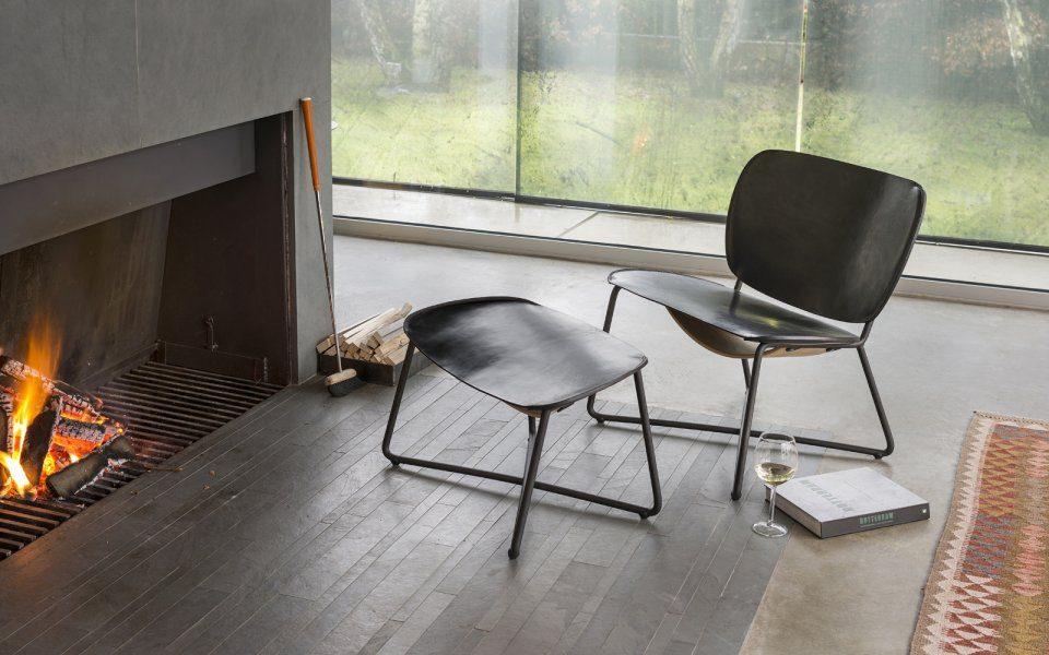 Functionals Miller Ottoman Zwart Leer Voetenbank Design Chair